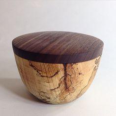 Small lidded bowl. #maple #walnut #woodturning #handmade #utilitarian
