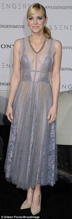 Pretty: Actress Anna looked lovely in a gossamer gray dress with low-cut embroidered neckline. The sleeveless semi-sheer number had exquisite detailing