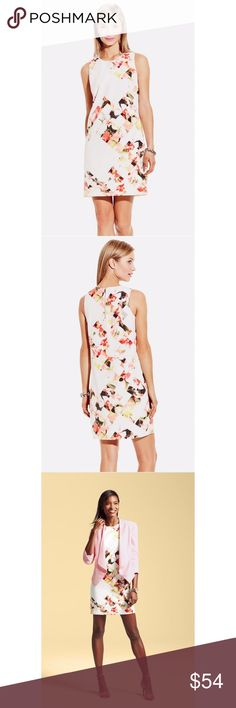 "{Vince Camuto} 'Broken Photo' Floral Shift Dress The floral print gets a modern twist with pixelated blocks of solid white dotted amongst the lush tropical blooms of a sleeveless woven shift in a figure-skimming silhouette. Fabric Content: 100% polyester. - Round neck - Sleeveless - Exposed back-zip closure - Lined  Armpit to Armpit: 18.5"" Length: 36.75"" Waist: 18.25"" Hips: 21"" 2.25"" sleeves Machine wash, line dry * Condition: New without tag, never worn. Very tiny dull spot on front towards…"