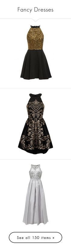 """""""Fancy Dresses"""" by kate-loves-fashion ❤ liked on Polyvore featuring dresses, vestidos curtos, skater dresses, fit and flare dress, gold party dress, gold dress, gold skater dress, gowns, clothing - dresses and short dress"""