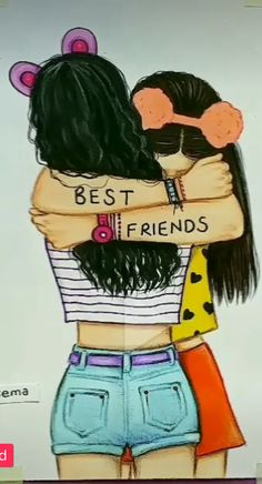 bff drawings easy step by step . bff drawings black and white Best Friend Sketches, Friends Sketch, Drawings Of Friends, Drawing Of Best Friends, Cute Best Friend Drawings, Anime Best Friends, Girl Drawing Sketches, Cute Girl Drawing, Girly Drawings