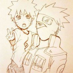 Little Naruto and Kakashi. This is too adorable!
