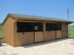 12x30 Shed row horse barn with open stall fronts and sliding stall doors. Perfect for hotter southern or western locations!