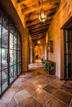 good hallway mexican wood ceiling Rustic cement floors find these designs . Hacienda Style Homes, Spanish Style Homes, Spanish House, Mexican Style Homes, Casa Patio, Mexico House, Mediterranean Homes, Wood Ceilings, Cheap Home Decor