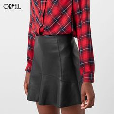 ORMELL Women Black A-Line Faux PU Leather #MiniSkirt Fashion Sexy Buttons Skirts Ruffles Casual Brand Design Vestidos. #womenstyle