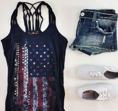American Flag Print Clothing Style.  Love the tank....would pair it with strappy sandals or boots instead.