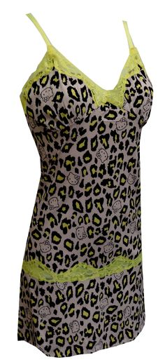 Hello Kitty Neon Lace Leopard Print Nightgown, $24  Surely, this is the prettiest Hello Kitty nightie you have seen! Nightgown features beautiful yellow neon lace trim, adjustable straps and has Hello Kitty faces tossed into the leopard print fabric. Machine washable and easy to care for. Junior cut.