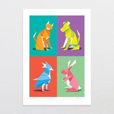 Paper Pets - Art Print by Glenn Jones Art - art to make you smile. Available in a range of sizes. Click image to buy online. www.glennjonesart.com
