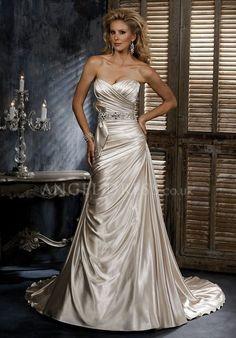 A line Sweetheart Satin With Crystal Floor Length Sleeveless Wedding Dress