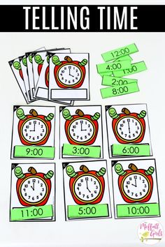 Apple Time- Make a Match: This fun Kindergarten Math activity helps students tell time in a hands-on way!