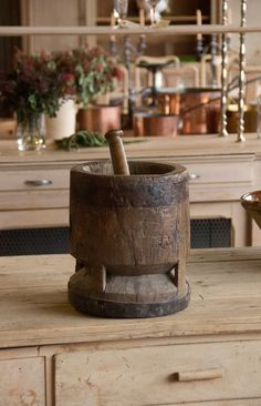 Antique Mortar and Pestle | From a unique collection of antique and modern apothecary jars and objects at https://www.1stdibs.com/furniture/more-furniture-collectibles/apothecary-jars-objects/