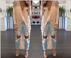 $14 2015 punk gothic rock Long Sleeve Asymmetric Hem Pleated wrinkle Twist Wrap V Neck Cotton Shirt Dress women party clubwear