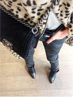 Chanel bag, black pants and leopard print