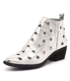 Make a statement this season with this starry style. This leather ankle boot will add a little fun to your everyday style and will look fabulous with the season's favourite looks. Shop 'Sacred Silver Shine Leather' by Django & Juliette at styletread.com.au