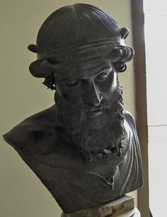 Possibly Bacchus (Dionysus), Roman bust (bronze), copy after Hellenistic original, 1st century AD, (Museo Archeologico Nazionale, Naples).