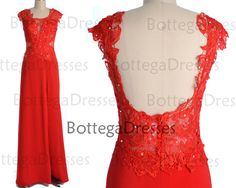 Red Prom Dresses with Slit Sexy Prom Gown Straps by BottegaDresses