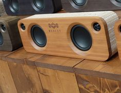 Get clear and crisp audio everywhere you go with the House of Marley portable speaker bundle. Featuring two dynamic Bluetooth speakers, this bundle Diy Bluetooth Speaker, Desktop Speakers, Diy Speakers, Built In Speakers, Portable Speakers, Boombox, Wooden Speakers, Speaker Box Design, Audiophile Speakers