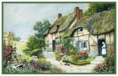 Thatched Roof English Country Cottage Strachan Counted Cross Stitch Pattern
