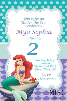 Under the Sea Birthday Invitation - Little Mermaid Invitation Printable