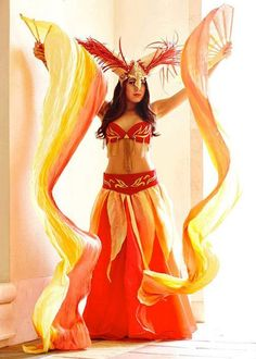 ARIES Goddess of FIRE costume 7pc Headdress by EZorangeDesign. Loving the fans and skirt....should be easy to replicate