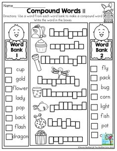 Education worksheets for first grade first grade compound words worksheet in the no prep packet for . education worksheets for first grade First Grade Phonics, First Grade Worksheets, First Grade Writing, First Grade Activities, Kindergarten Worksheets, Fun Activities, Compound Word Activities, Compound Words Worksheet, English Activities