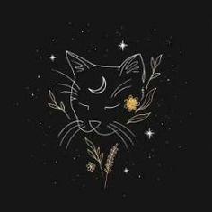 Image Deco, Cat Tattoo Designs, Bild Tattoos, Cat Tattoos, Witch Art, Moon Art, Psychedelic Art, Cat Art, Art Inspo