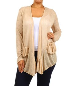 Look at this J-Mode USA Los Angeles Beige Ruffle Open Cardigan - Plus on #zulily today!