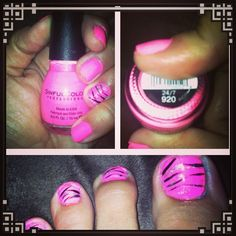 DYI hot pink with zebra stripes with some glitter! Easy and fast!