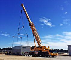Strapped and ready to go! #happymonday #allegiancecrane #crane #heavylifting #heavyequipment