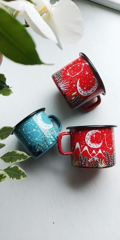 Custom Starry Constellation Enamel Name Cup - Shewolfka Painted Coffee Mugs, Hand Painted Mugs, Painted Cups, Hand Painted Ceramics, Ceramic Painting, Diy Painting, Cool Coffee Cups, Gothic Home, Night Sky Painting