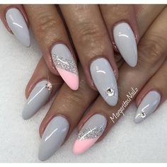 Grey and pink stiletto nails