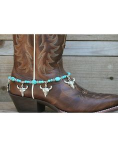 Boot Candy Turquoise South Western Skull