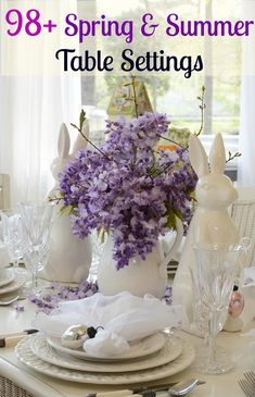 Easter Spring Table Setting Tablescape with White Bunny Rabbit and Wisteria Centerpiece | Between Naps on the Porch