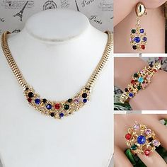 Flower-Shaped Alloy Inlay Rhinestone Sets Necklace+Bracelet+Earrings+Ring Gold (1Set) - USD $ 8.99