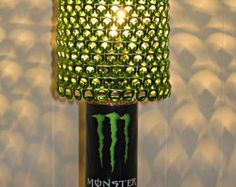 Monster Energy Can Lamp With Bright Metallic Green Anodized Tab Lamp Shade *Heirloom Quality*