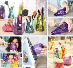Brush and makeup holders made from colorful plastic bottles