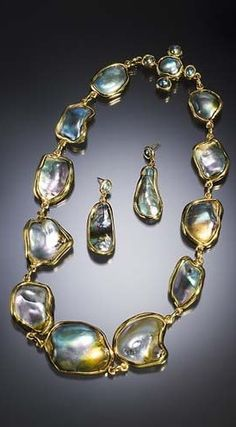 The Treasure of California. The natural abalone pearls in this necklace-and-earring suite, collected decades ago, likely could not be replicated today. The largest of those pictured above measures 20.04 x 16.73 x 8.45 mm.