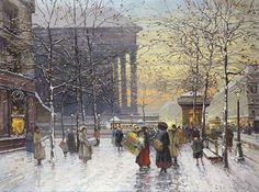 Eugene Galien-Laloue (French, 1854-1941), Madeleine a Paris, oil on canvas