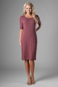 8b1a0228623c Half sleeve sheath fit modest formal dress, style MDS18006 Mauve, is part  of the