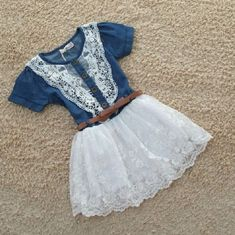 Favorite cowgirl outfit for their little girls. Cute western style denim dress outfit for infant girls. Perfect with a matching with a tiny little boots with cowgirl hat. Enjoy taking pics of your...@ artfire