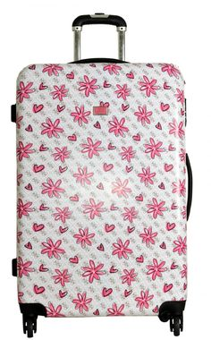 """Pink flowers against a white background for a floral themed luggage / suitcase   OP - """"GUESS Travel Kiss Me 29"""" 4-Wheel Hardside Spinner"""""""