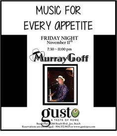 It's Friday night and a great way to spend it is at the beach!  Come on out to GUSTO's for great food great music and great time! I'll be playing your favorite song. #livemusic #jaxbeach #pianoman