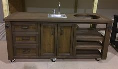 We specialize in rustic decor for outdoor furniture - indoor furniture, grill tables, home bars, bar cabinets, garden furniture and patio furniture Weathered Furniture, Deck Furniture, Metal Furniture, Outdoor Kitchen Sink, Kitchen Decor, Kitchen Ideas, Reclaimed Wood Bars, Pallet Wood, Pallet Bar