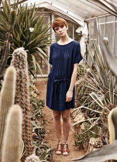 blue dress and cacti everywhere