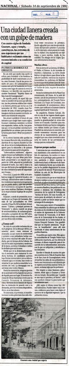 Creación de Guanare. Publicado el 14 de septiembre de 1997.