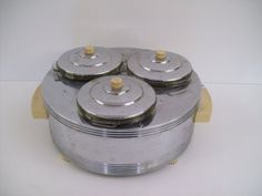 41: Art Deco Chrome Triple Food Warmer MARKED CHASE BR : Lot 41