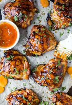 Sweet & Spicy CHIPOTLE APRICOT GRILLED CHICKEN THIGHS - juicy smoky chicken thighs slathered in an easy chipotle apricot glaze that will make you swoon! You'll be making this easy chicken recipe on repeat this summer. Pork Rib Recipes, Easy Chicken Dinner Recipes, Grilled Chicken Recipes, Grilled Meat, Grilling Recipes, Grilled Chicken Thighs Marinade, Baked Chicken, Chipotle Chicken, Chicken Ideas