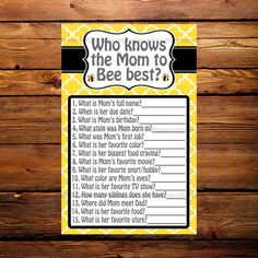 Who Knows the Mom to Bee Best - Baby Shower Game - Bee Theme - Baby Sprinkle - Printable - Digital D Mommy To Bee, Bee Gender Reveal, Baby Shower Gender Reveal, Shower Party, Baby Shower Parties, Bridal Shower, Baby Prediction Cards, Baby Shower Games, Baby Games