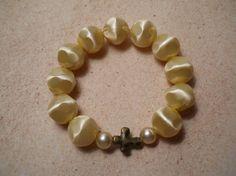 Ivory Bead & Cross Lightweight Bracelet OOAK by ChaostoChrist
