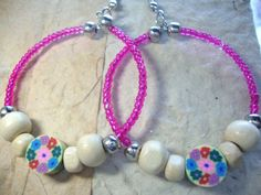 Hoop Earrings Pink and Natural Summer & by KidsAtHeartBeadShop